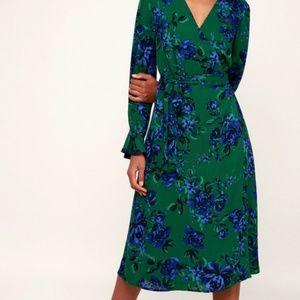 Lulu's blue & green floral midi wrap dress size S